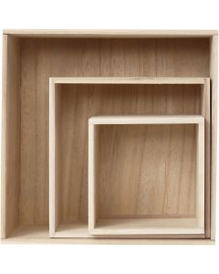 Säilytyslaatikot, Kork. 15x15+21,5x21,5+28x28 cm, 3 kpl/ 1 set