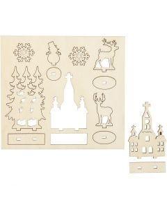 Koottavat puukuviot, kirkko, kuuset, porot, Pit. 15,5 cm, Lev: 17 cm, 1 pkk