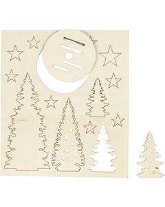 Koottavat puukuviot, joulupuut, Pit. 20 cm, Lev: 17 cm, 1 pkk
