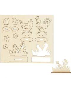 Koottavat puukuviot, kanat ja munat, Pit. 15,5 cm, Lev: 17 cm, 1 pkk