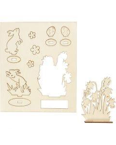 Koottavat puukuviot, puput ja kukat, Pit. 20 cm, Lev: 17 cm, 1 pkk