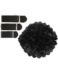 Pompomit, halk. 20+24+30 cm, 16 g, musta, 3 kpl/ 1 pkk