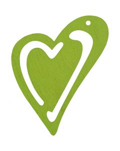 Sydän, koko 55x45 mm, lime vihreä, 10 kpl/ 1 pkk