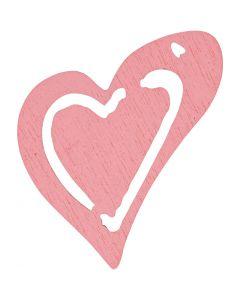 Sydän, koko 25x22 mm, rosa, 20 kpl/ 1 pkk