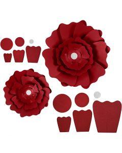 Paperikukat, halk. 15+25 cm, 230 g, punainen, 2 kpl/ 1 pkk