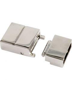 Magneettilukko, koko 25x16x6 mm, aukon koko 4x8 mm, hopeanväriset, 1 kpl