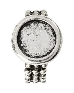 Cabochon-sormuspohja, halk. 19 mm, aukon koko 14 mm, antiikkihopean väris, 1 kpl
