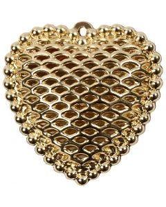Sydän, koko 28x29 mm, aukon koko 1 mm, kullanvärinen, 1 kpl