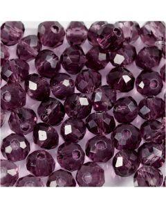 Fasettihiotut lasihelmet, halk. 4 mm, aukon koko 1 mm, violetti, 45 kpl/ 1 lanka
