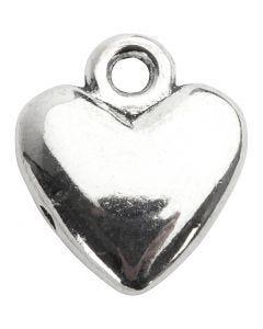 Sydänriipus, koko 13x15 mm, hopeanväriset, 10 kpl/ 1 pkk