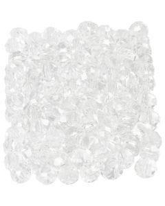 Fasettihiotut lasihelmet, koko 3x4 mm, aukon koko 0,8 mm, kristalli/kirkas, 100 kpl/ 1 pkk