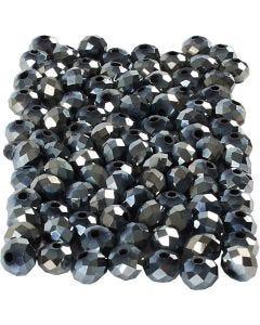 Fasettirondellit, koko 5x6 mm, aukon koko 1 mm, metallinen musta, 100 kpl/ 1 pkk