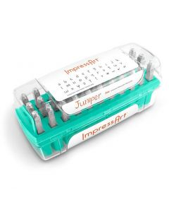 Pakotusleimasin (punsseli), pienet kirjaimet ja merkit, koko 3 mm, Fontti: Juniper  , 33 kpl/ 1 set