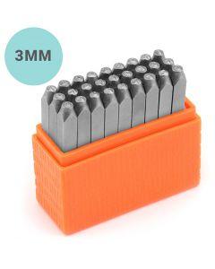 Pakotusleimasin (punsseli), pienet kirjaimet, koko 3 mm, Fontti: Sans Serif , 27 kpl/ 1 set