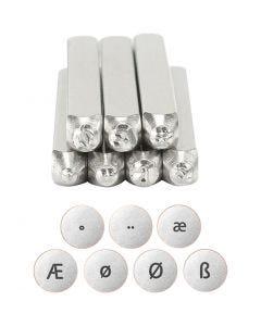 Pakotusleimasin (punsseli), europpalaisia kirjaimia, Pit. 65 mm, koko 3 mm, 7 kpl/ 1 set