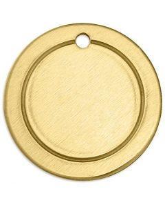 Metallilaatta, uurrettu kiekko, halk. 20 mm, aukon koko 1,85 mm, paksuus 1 mm, messinki, 6 kpl/ 1 pkk