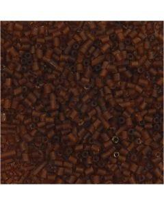 Siemenhelmet, Putki, halk. 1,7 mm, koko 15/0 , aukon koko 0,5 mm, ruskea, 25 g/ 1 pkk