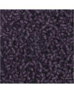 Siemenhelmet, Putki, halk. 1,7 mm, koko 15/0 , aukon koko 0,5 mm, huurteinen lila, 500 g/ 1 pss