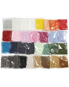 Rocaille-siemenhelmet, halk. 1,7+3+4 mm, koko 6/0+8/0+15/0 , aukon koko 0,5-1,2 mm, 32x100 g/ 1 pkk