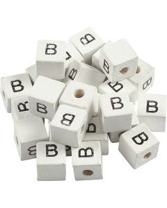 Kirjainhelmi, B, koko 8x8 mm, aukon koko 3 mm, valkoinen, 25 kpl/ 1 pkk