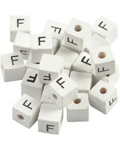 Kirjainhelmi, F, koko 8x8 mm, aukon koko 3 mm, valkoinen, 25 kpl/ 1 pkk