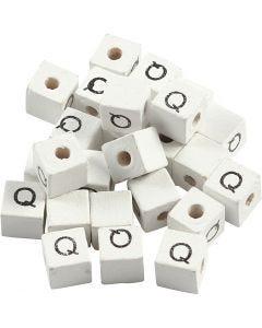 Kirjainhelmi, Q, koko 8x8 mm, aukon koko 3 mm, valkoinen, 25 kpl/ 1 pkk