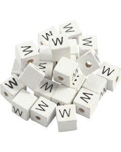 Kirjainhelmi, W, koko 8x8 mm, aukon koko 3 mm, valkoinen, 25 kpl/ 1 pkk