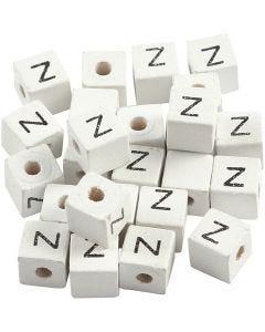 Kirjainhelmi, Z, koko 8x8 mm, aukon koko 3 mm, valkoinen, 25 kpl/ 1 pkk