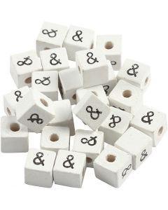 Symbolihelmi, &, koko 8x8 mm, aukon koko 3 mm, valkoinen, 25 kpl/ 1 pkk