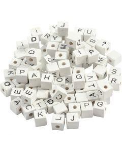 Kirjainhelmi, A-Z, &, #, ?, koko 8x8 mm, aukon koko 3 mm, valkoinen, 96 laj/ 1 pkk