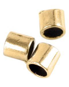 Nyörinpäät, koko 2x2 mm, aukon koko 1,4 mm, kullanvärinen, 80 kpl/ 1 pkk