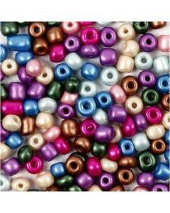 Rocaille-siemenhelmet, halk. 5 mm, koko 4/0 , aukon koko 1,2 mm, metallic-värit, 720 g/ 1 tb
