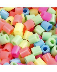 Putkihelmet, koko 5x5 mm, aukon koko 2,5 mm, medium, pastellivärit, 6000 laj/ 1 pkk