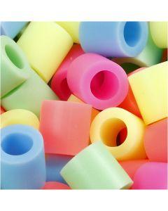 Putkihelmet, koko 10x10 mm, aukon koko 5,5 mm, JUMBO, pastellivärit, 550 laj/ 1 pkk