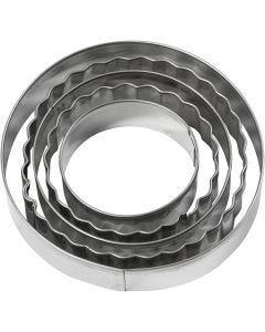 Metallimuotit, ympyrä, koko 8 cm, 5 kpl/ 1 pkk