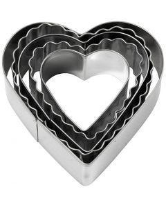 Metallimuotit, sydän, koko 8 cm, 5 kpl/ 1 pkk