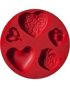 FIMO® silikonimuotti, sydämet, halk. 7 cm, 1 kpl