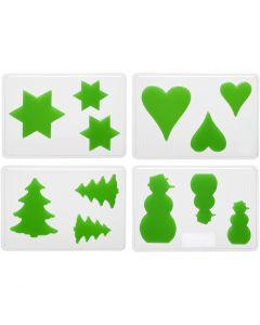 Muotit, joulu, Kork. 6+8+10 cm, syvyys 9 mm, koko 14,9x22 cm, 4 kpl/ 1 pkk