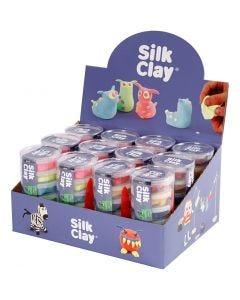 Silk Clay® silkkimassa, neonvärit, perusvärilajitelma, 12 set/ 1 pkk