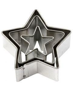 Metallimuotit, Tähdet, koko 40x40 mm, 3 kpl/ 1 pkk