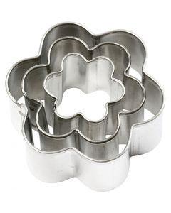 Metallimuotit, Kukat, koko 40x40 mm, 3 kpl/ 1 pkk