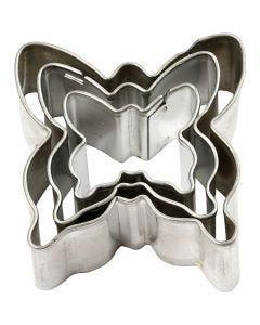 Metallimuotit, Perhoset, koko 40x40 mm, 3 kpl/ 1 pkk