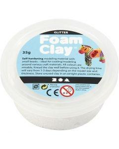 Foam Clay®, kimalle, valkoinen, 35 g/ 1 tb