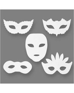 Karnevaalinaamiot, Kork. 8,5-19 cm, Lev: 15-20,5 cm, 230 g, valkoinen, 16 kpl/ 1 pkk