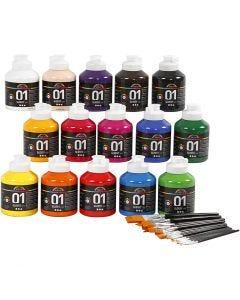 A-Color akryylimaali, kiiltävä, värilajitelma, 1 set