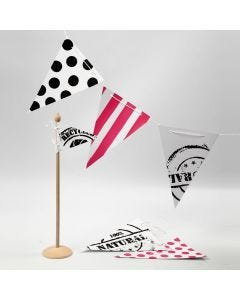 Bunting with Screen Stencil Prints, Stripes and Dots