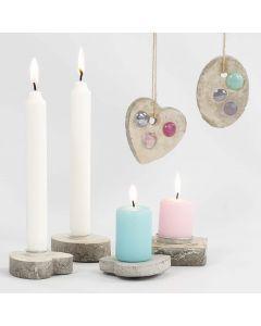 Kynttiläpidikkeitä ja roikkuvia koristeita askartelubetonista