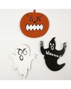 Maalatut ja koristellut kartonkikuviot halloweeniin