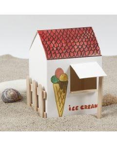 Itsekoottu ja koristeltu jäätelökioski