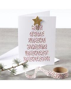 Joulukortti, jossa on kuvioteipillä tehty joulukuusi